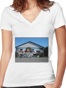 Hockey History Don Cherry Building Mural Women's Fitted V-Neck T-Shirt