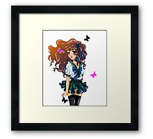 Cute anime school girl Framed Print