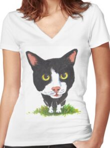 Curious Cat Women's Fitted V-Neck T-Shirt