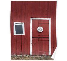 Window and door in red. Poster
