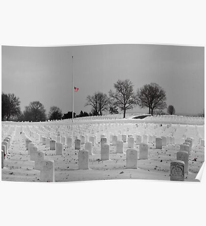 Jefferson Barracks with Flag Poster