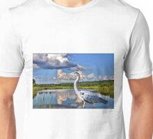 Heron in the Water BEAUTIFUL PILLOWS AND OR TOTE BAGS PICTURE -CARD ECT Unisex T-Shirt