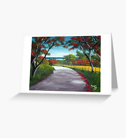 Flamboyant Road Rincon, Puerto Rico Greeting Card