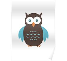 Brown & Blue Owl Poster