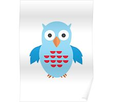Blue & Red Owl Poster