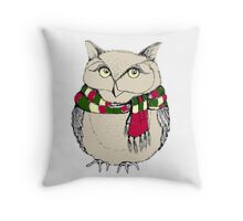Funny owl in a colorful scarf. Throw Pillow