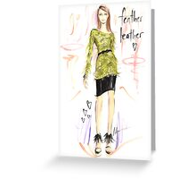 Feather Leather Greeting Card