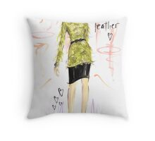 Feather Leather Throw Pillow