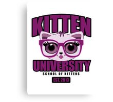 Kitten University - Purple Canvas Print