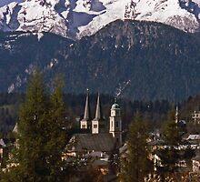Berchtesgaden Church Spires and the Watzmann by David J Dionne