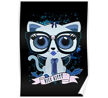 Nice Kitty - Black & Blue Poster