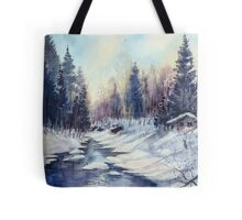 Winter river in the Laurentian Mountains. Quebec Tote Bag