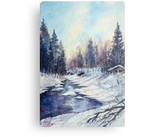 Winter river in the Laurentian Mountains. Quebec Metal Print