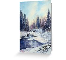 Winter river in the Laurentian Mountains. Quebec Greeting Card
