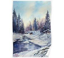 Winter river in the Laurentian Mountains. Quebec Poster
