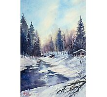 Winter river in the Laurentian Mountains. Quebec Photographic Print