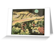 Aqua Moon Over Saddle Butte Greeting Card