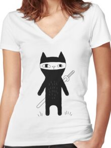 Ninja Cat Women's Fitted V-Neck T-Shirt