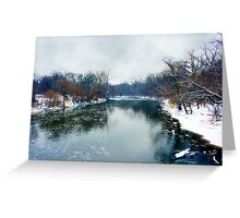 Des Plaines Rive in Winter, Riverside, Illinois Greeting Card