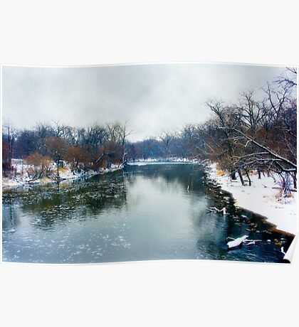 Des Plaines Rive in Winter, Riverside, Illinois Poster