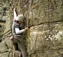 Christine rock climbing by Daniel Pertovt