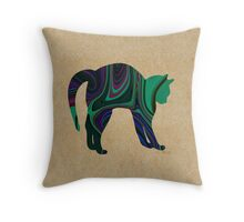 Stretching Textured Cat Throw Pillow