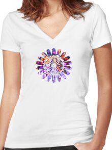Star Flower Purple,  photography of shiny mosaic - JUSTART © Women's Fitted V-Neck T-Shirt