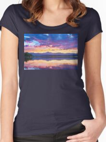 Colorful Sky Into The Rocky Mountain Night Women's Fitted Scoop T-Shirt
