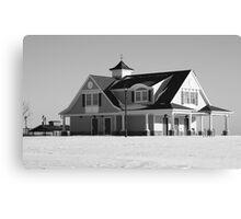 Beach house in the snow B&W Canvas Print