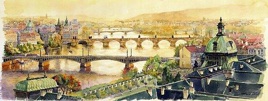 Panorama Prague Briges by Yuriy Shevchuk
