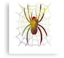 Splatter Art Spider on Web Canvas Print