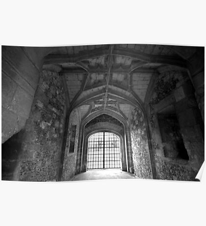 Gate House Interior in Black and White- Donnington Castle Poster