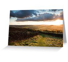 Curbar Gap Sunset Greeting Card