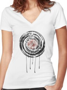 Vinyl Records Retro Urban Grunge Design Women's Fitted V-Neck T-Shirt