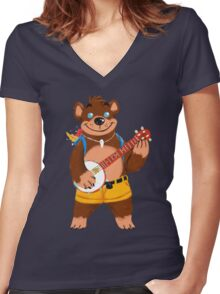 Septembear: Banjo  Women's Fitted V-Neck T-Shirt