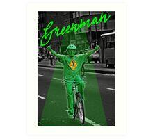 Green man on a Bike  Art Print