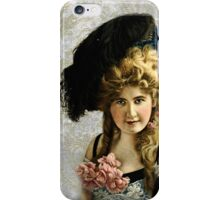 Vintage Photograph - Blonde Woman with Feather Hat on Grey Damask iPhone Case/Skin