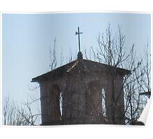 Belltower a cross and a resting critter Poster