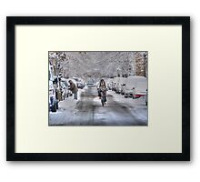 biker snow Framed Print