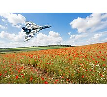 Avro Vulcan B2 bomber over a field of red poppies Photographic Print
