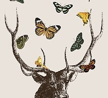 The Stag & Butterflies by EclecticAtHeART