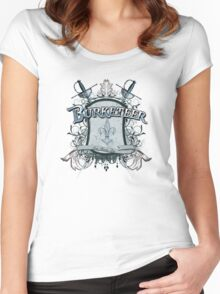 Official Burketeer Logo Badge Blue Women's Fitted Scoop T-Shirt