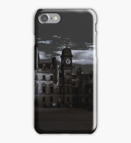 Spooky Night on Dunrobin Castle Black and White (Golspie, Sutherland, Scotland) iPhone Case/Skin