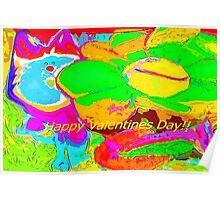Cat and sunflower buddies valentine Poster