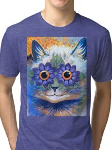 Flower Power Cat T Shirt Tri-blend T-Shirt
