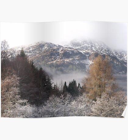Misty mountain - Loch Achray, Scotland Poster
