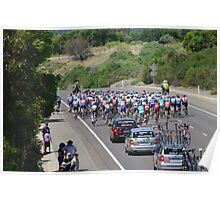 Cycling The Tour Down Under in South Australia -and there they go  Poster