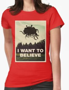 Flying Spaghetti Believing Womens Fitted T-Shirt
