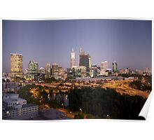 Perth Skyline at Dusk from King's Park Poster