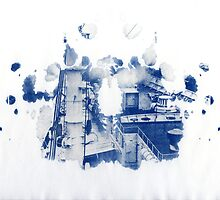 rorschach, factory - cyanotype print by iannarinoimages